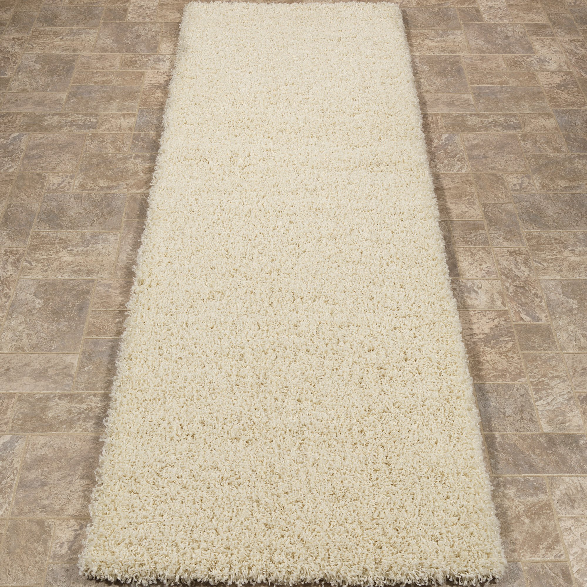 """Sweet Home Stores Cozy Shag Collection Cream Solid Shag Rug (2'0""""X4'11"""") Contemporary Living and Bedroom Soft Shaggy Runner Rug"""