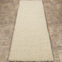 "Sweet Home Stores Cozy Shag Collection Cream Solid Shag Rug (2'0""X4'11"") Contemporary Living and Bedroom Soft Shaggy Runner Rug"