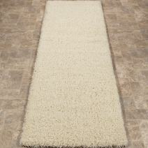 "Sweet Home Stores Cozy Shag Collection Cream Solid Shag Rug (2'7""X7'6"") Contemporary Living and Bedroom Soft Shaggy Runner Rug"