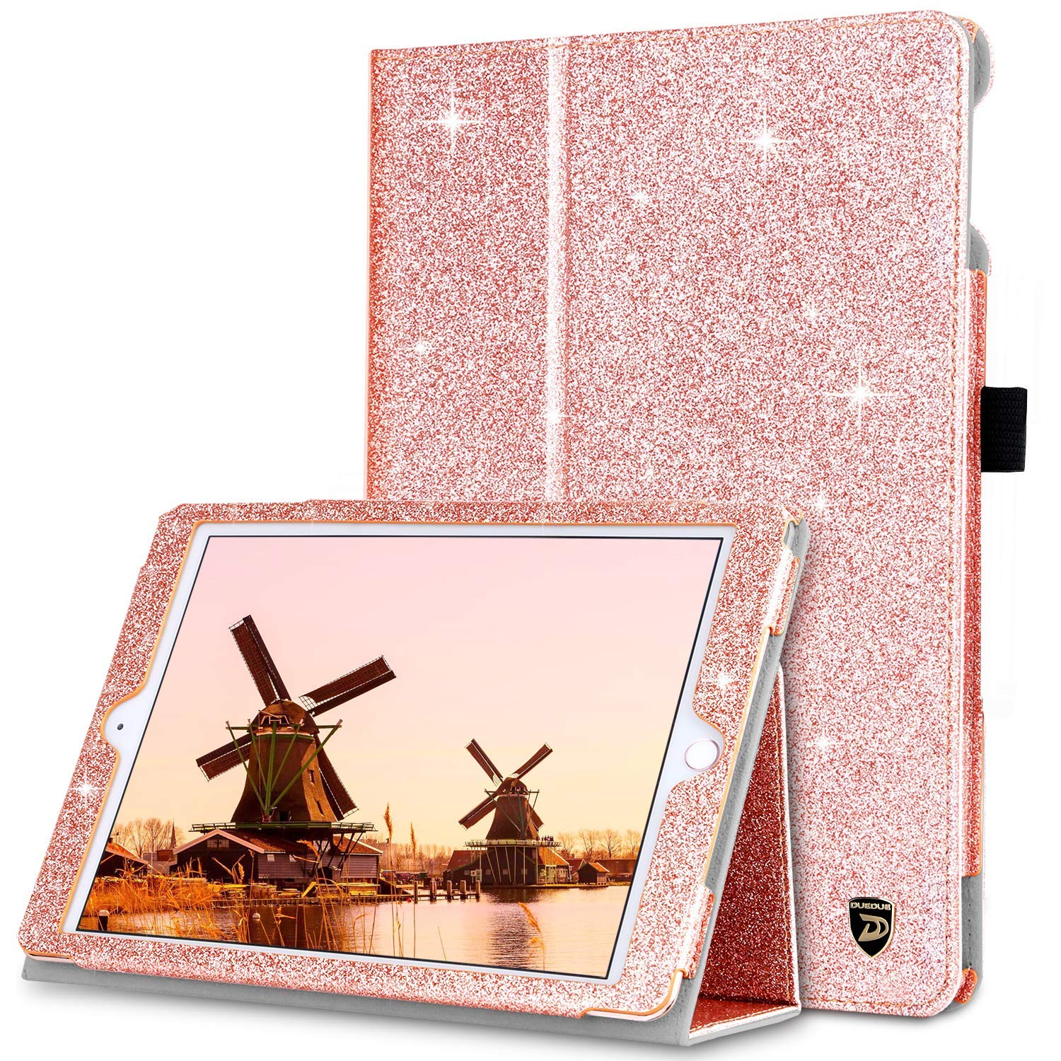 DUEDUE iPad 9.7 2017/2018/iPad Air 2/iPad Air Case, Sparkly Glitter Bling PU Leather Shockproof Folio Stand Auto Sleep/Wake Full Protective Cover for iPad 6th/5th Generation/iPad Air, Rose Gold
