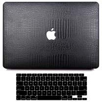 MacBook Air 13 Inch Case 2020 2019 2018 Release M1 A2337 A2179 A1932, G JGOO MacBook Air 2020 Case with Touch ID, PU Leather Hard Shell Case + Keyboard Cover Compatible with Mac Air 13 Retina, Black