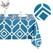 LUSHVIDA Moroccan Rectangle Table Cloth – Washable Water Resistance Microfiber Moroccan Tablecloth Decorative Table Cover for Picnic Banquet Party Kitchen Dining Room, 150 GSM