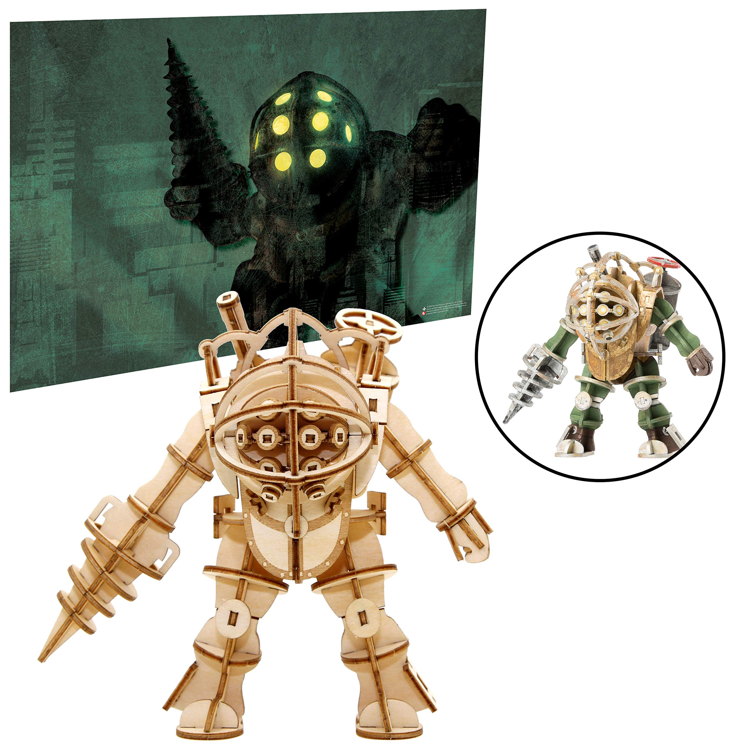 """Bioshock Big Daddy Poster and 3D Wood Model Figure Kit - Build, Paint and Collect Your Own Wooden Toy Model - Great for Teens and Adults,17+ - 5"""""""