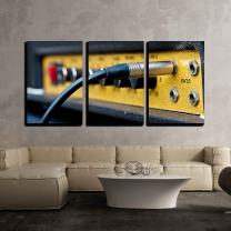 """wall26 - 3 Piece Canvas Wall Art - Close Up Image of Guitar Amplifier - Modern Home Decor Stretched and Framed Ready to Hang - 24""""x36""""x3 Panels"""