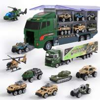 YGDKDIC Military Truck 11 PCS, Mini Battle Car Toy Set in Carrier Truck, Army Vehicle for Kid Child Girl Boy Play Birthday Party Favors…