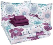 AmazonBasics Easy Care Super Soft Microfiber Kid's Bed-in-a-Bag Bedding Set - Full / Queen, Purple Flowers