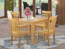 5-Piece Dinette table set - Table and 4 wood seat dining chairs in Oak finish