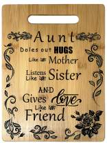 Aunt Gift - Bamboo Cutting Board Design Aunt Gift Birthday Christmas Gift Engraved Side For Décor Hanging Reverse Side For Usage (8.75x11.5 Rectangle)