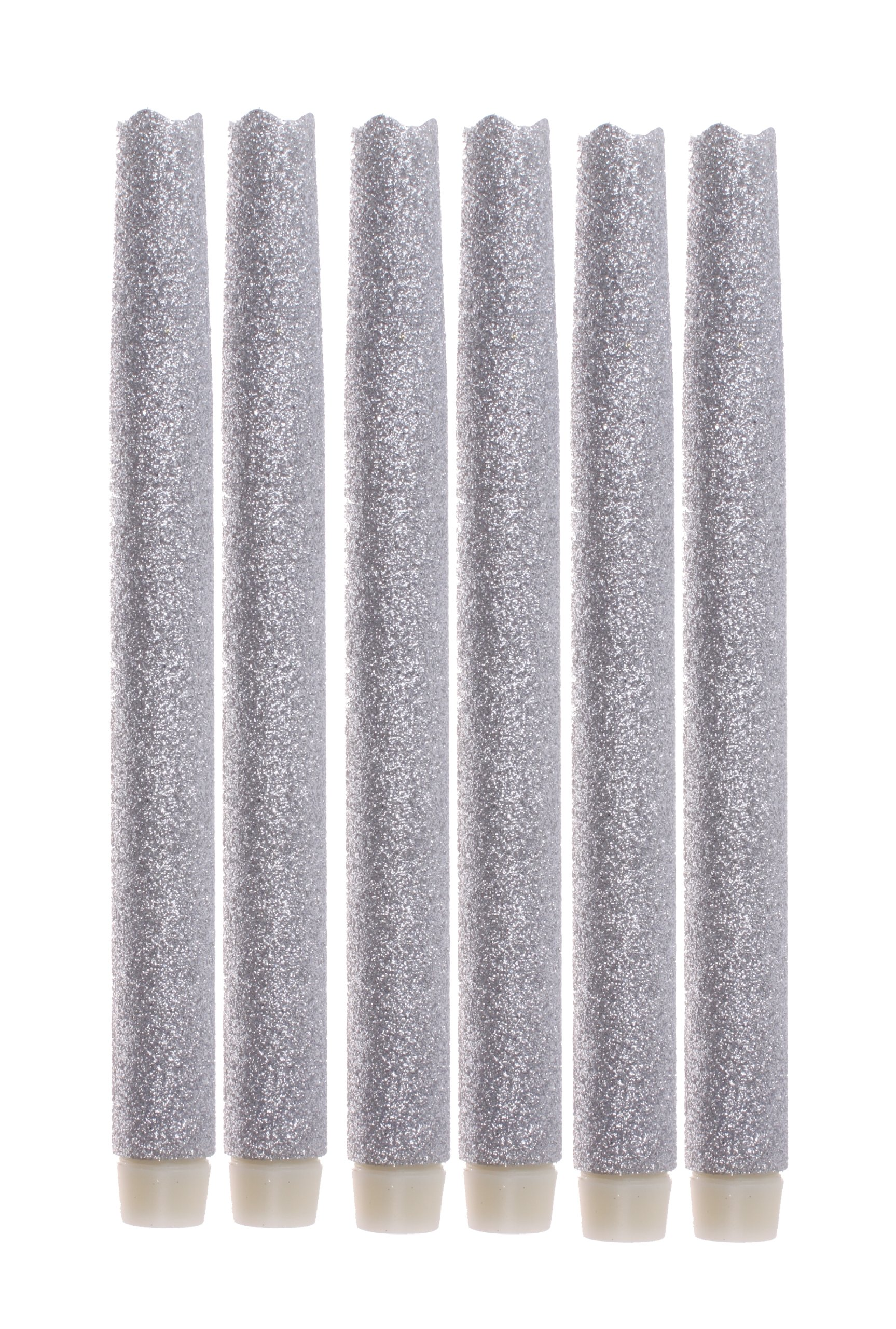 Melted Led Taper Candles with Timer,Battery Operated,with Silvery Glitter