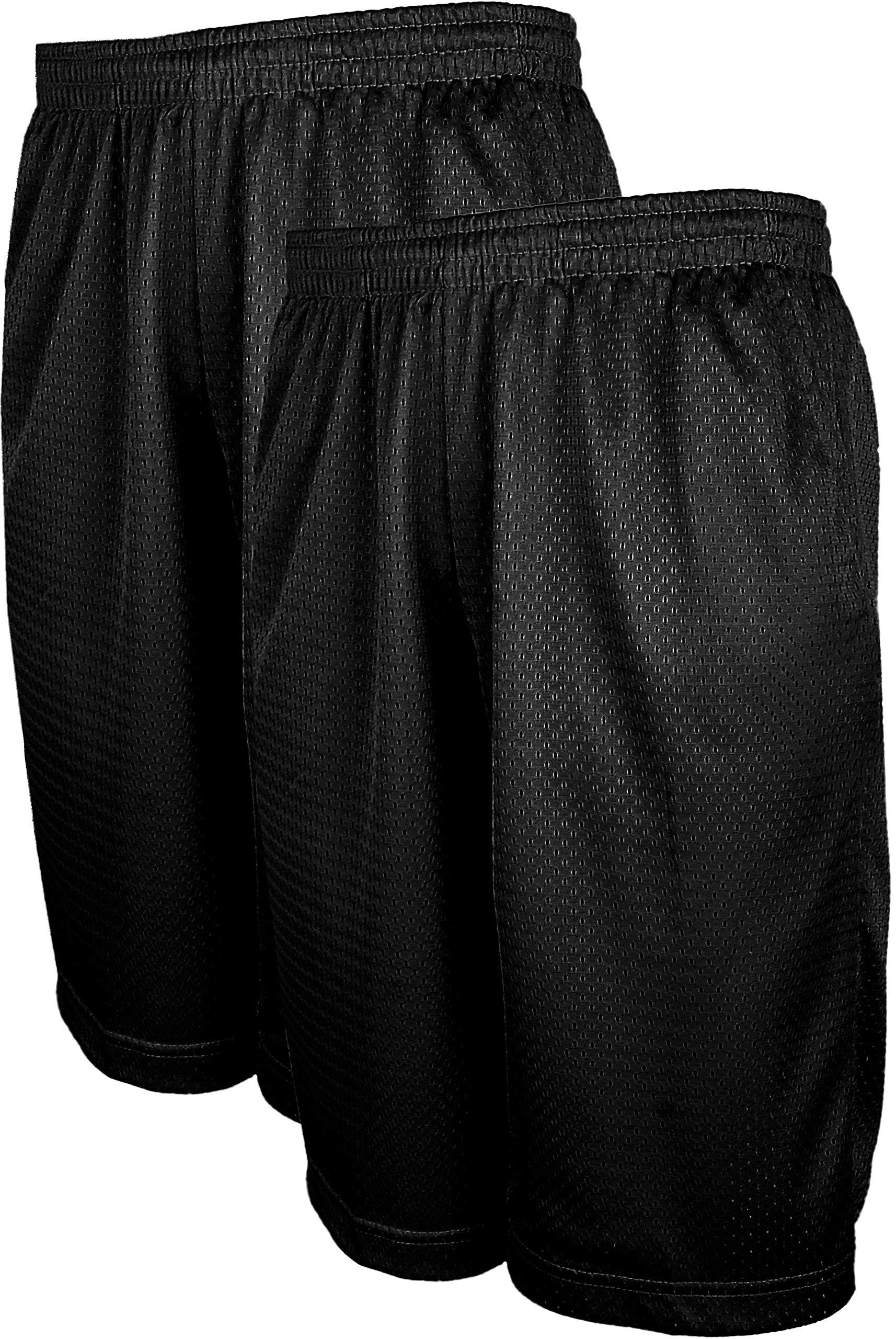 ViiViiKay Men's Athletic Basketball Shorts - Mesh Workout Gym Shorts with Pocket SET2_BK_BK 2XL