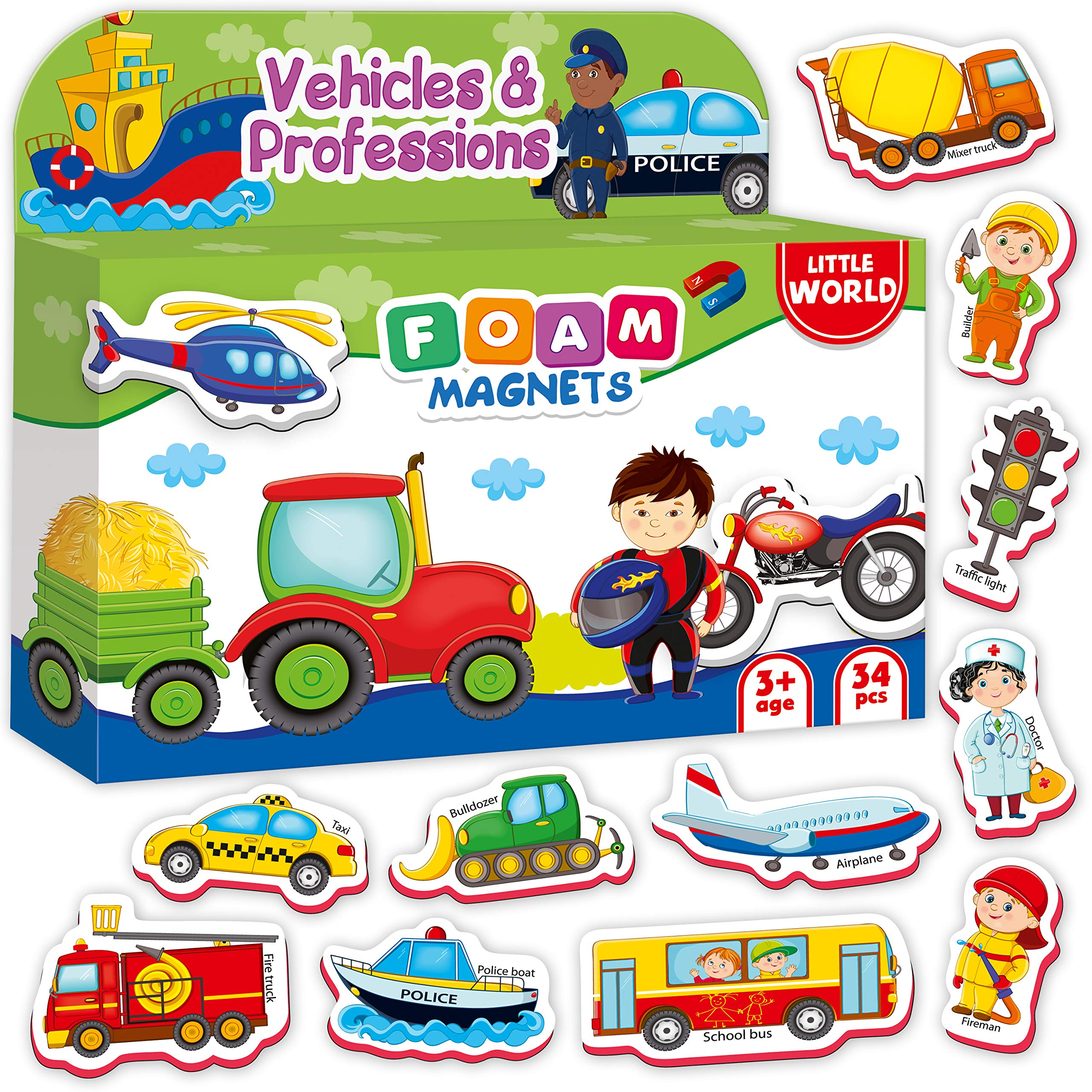 Little World Foam Refrigerator Magnets for Toddlers Age 1 - Fridge Magnets for Kids – Large Baby Magnets – 34 Magnetic Vehicles Trucks Cars for Toddler Learning – Safe Kids Magnets for 2 3 Year Old