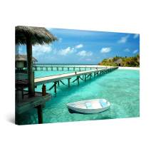 Startonight Canvas Wall Art - Boat on The Clear Water, Beach Framed 32 x 48 Inches