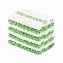 DAILY HOME ESSENTIALS 100% Cotton Terry Dish Cloth, Quick Dry Kitchen Rag | Absorbent Cafe, Bar & Restaurant Cleaning WashCloth | 8 Pack 12 x 12 inch - Green