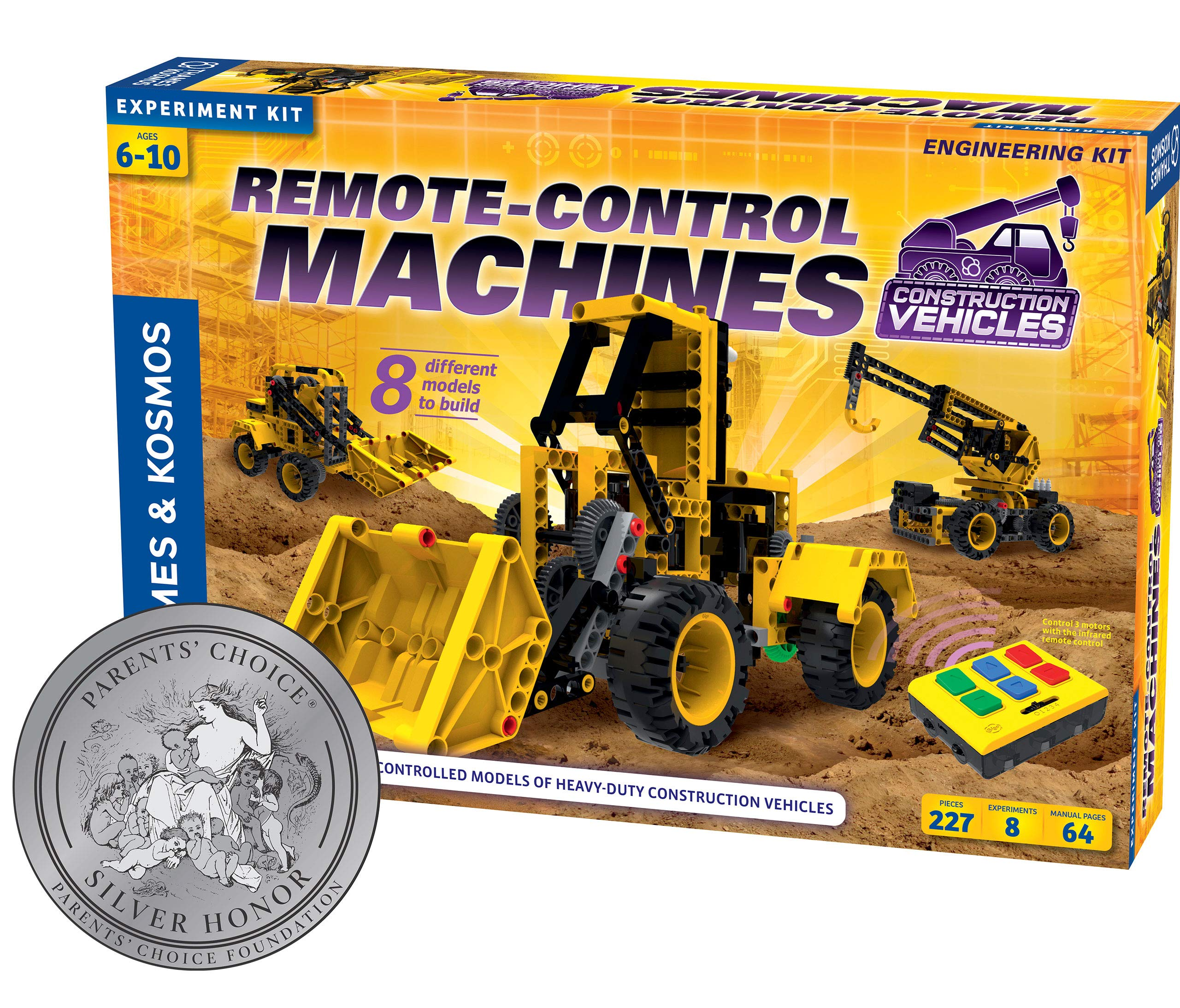 Thames & Kosmos Remote-Control Machines: Construction Vehicles   Science & Engineering Experiment Stem Kit   Build 8 Real Working Models   Parents' Choice Silver Award Winner  Astra Best Toys for Kids