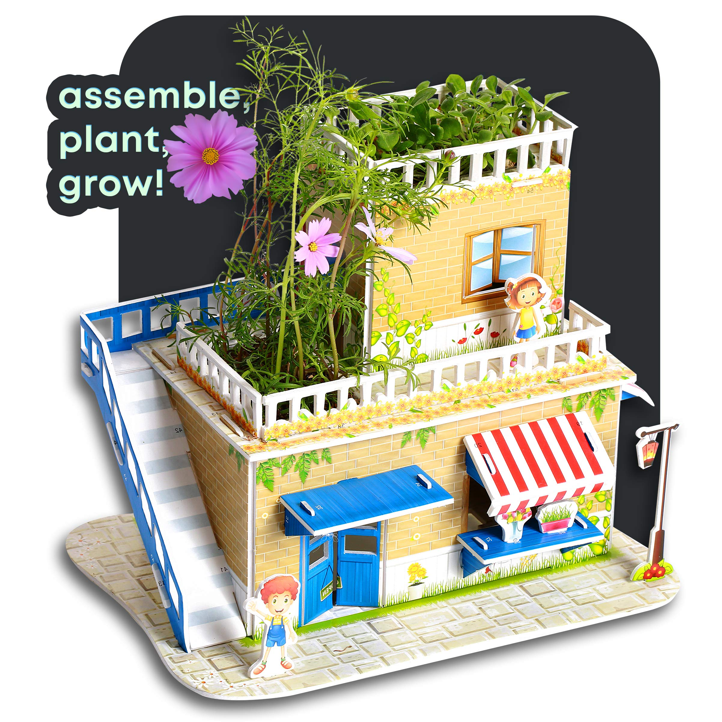 Garden 3D Puzzle Kit - Build a Flower Shop and Grow a Real Garden with Flowers, Cosmos & Violet : Easy DIY Crafts for Kids - with Detailed Instruction Guide : Great Educational Gift for Girls & Boys