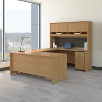 Bush Business Furniture Series C 72W U Shaped Desk with Hutch and Storage in Light Oak
