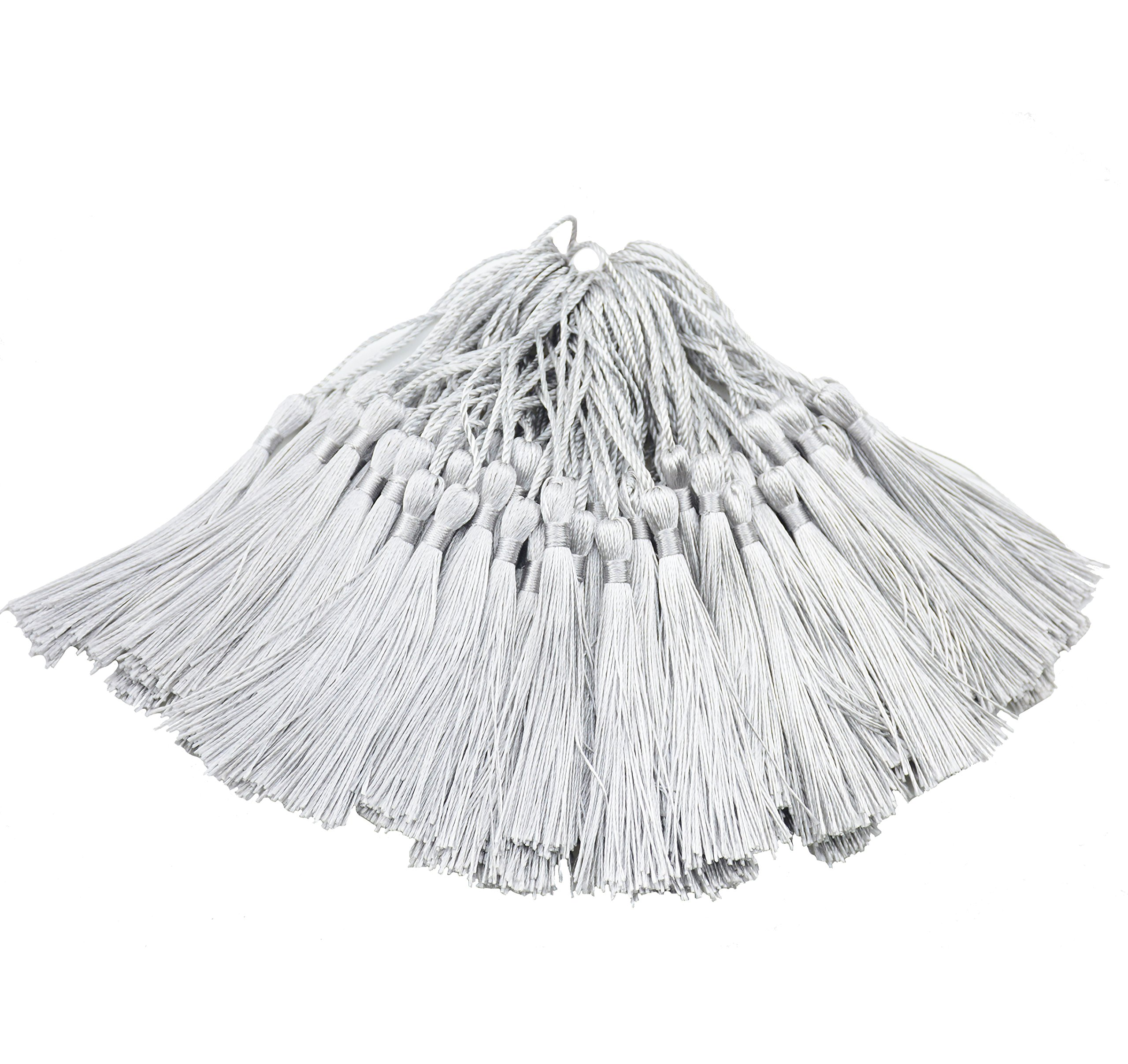 100pcs 13cm/5 Inch Silky Floss Bookmark Tassels with 2-Inch Cord Loop and Small Chinese Knot for Jewelry Making, Souvenir, Bookmarks, DIY Craft Accessory (Silver)