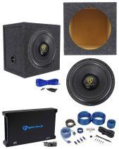 "Rockville W12K9D4 12"" 4000w Car Subwoofer+Sealed Sub Box+Mono Amplifier+Amp Kit"