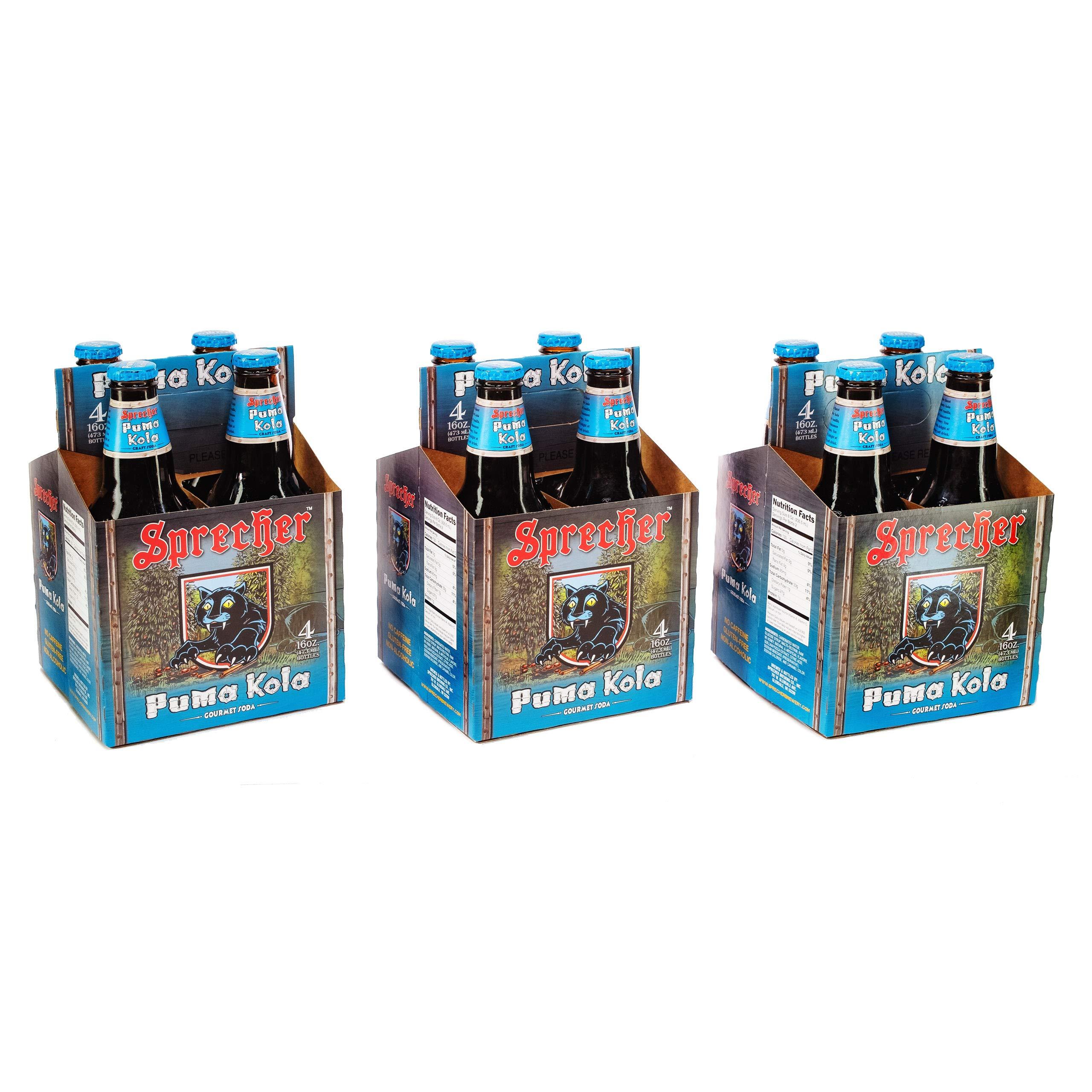 Sprecher Puma Kola, Fire-Brewed Gourmet Craft Soda, Glass Bottle, 16oz, 12 Pack