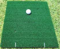 SLOT IT GOLF Non-Slip 2-Layer Hitting Mat for Grass, Dirt & Hard Surfaces. 17.5 inches Long by 13.5 Wide. Superior Nylon Grass, EVA Foam and Steel Pegs for Zero Mat-Slip at Impact.
