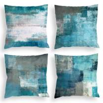 COLORPAPA Teal Throw Pillow Covers 18x18 Set of 4 Decorative Cushion Cover Turquoise Grey Abstract Art Painting Pillowcase for Sofa Bedroom Living Room Décor
