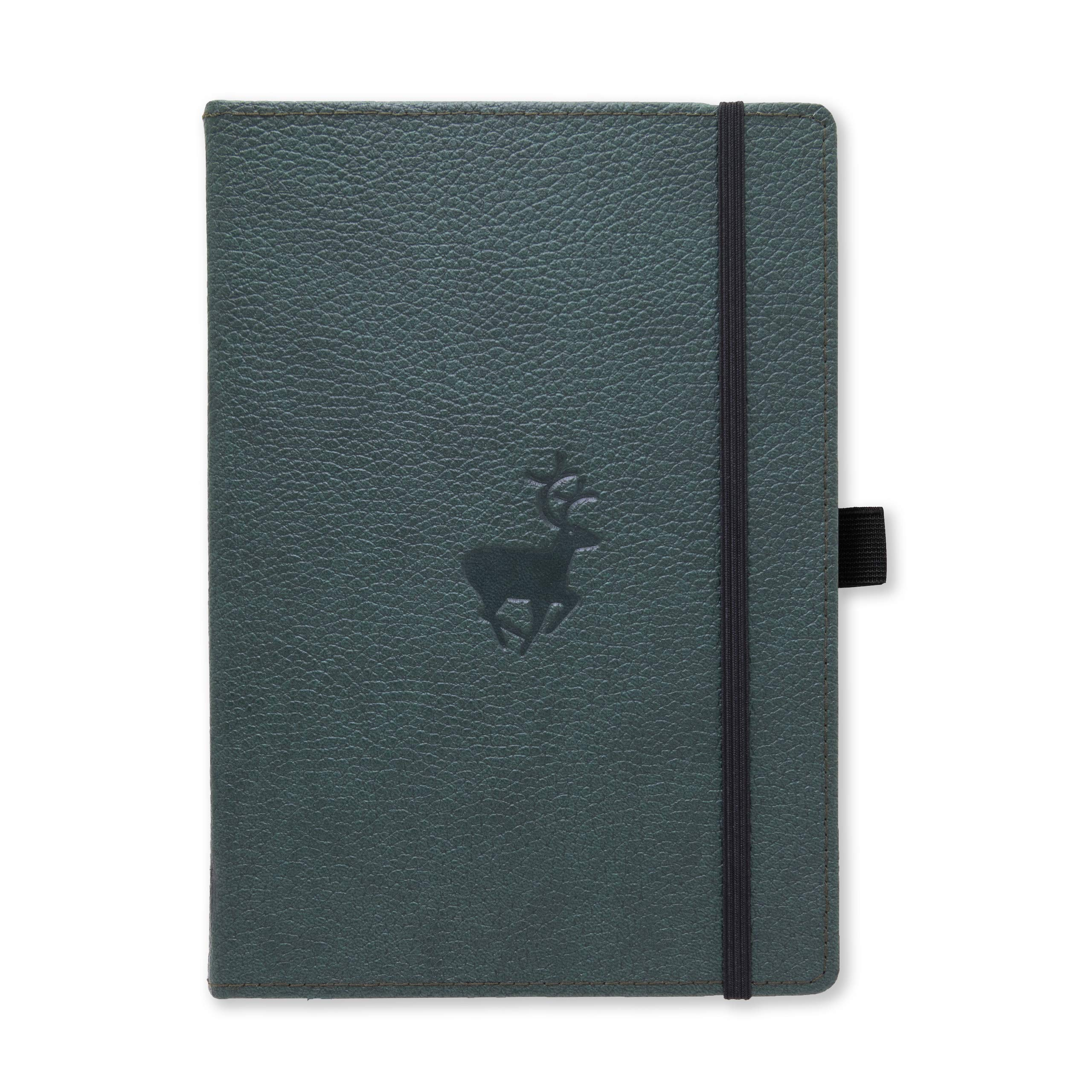 Dingbats Wildlife Medium A5+ Hardcover Notebook - PU Leather, Micro-Perforated 100gsm Cream Pages, Inner Pocket, Elastic Closure, Pen Holder, Bookmark (Plain, Green Deer)