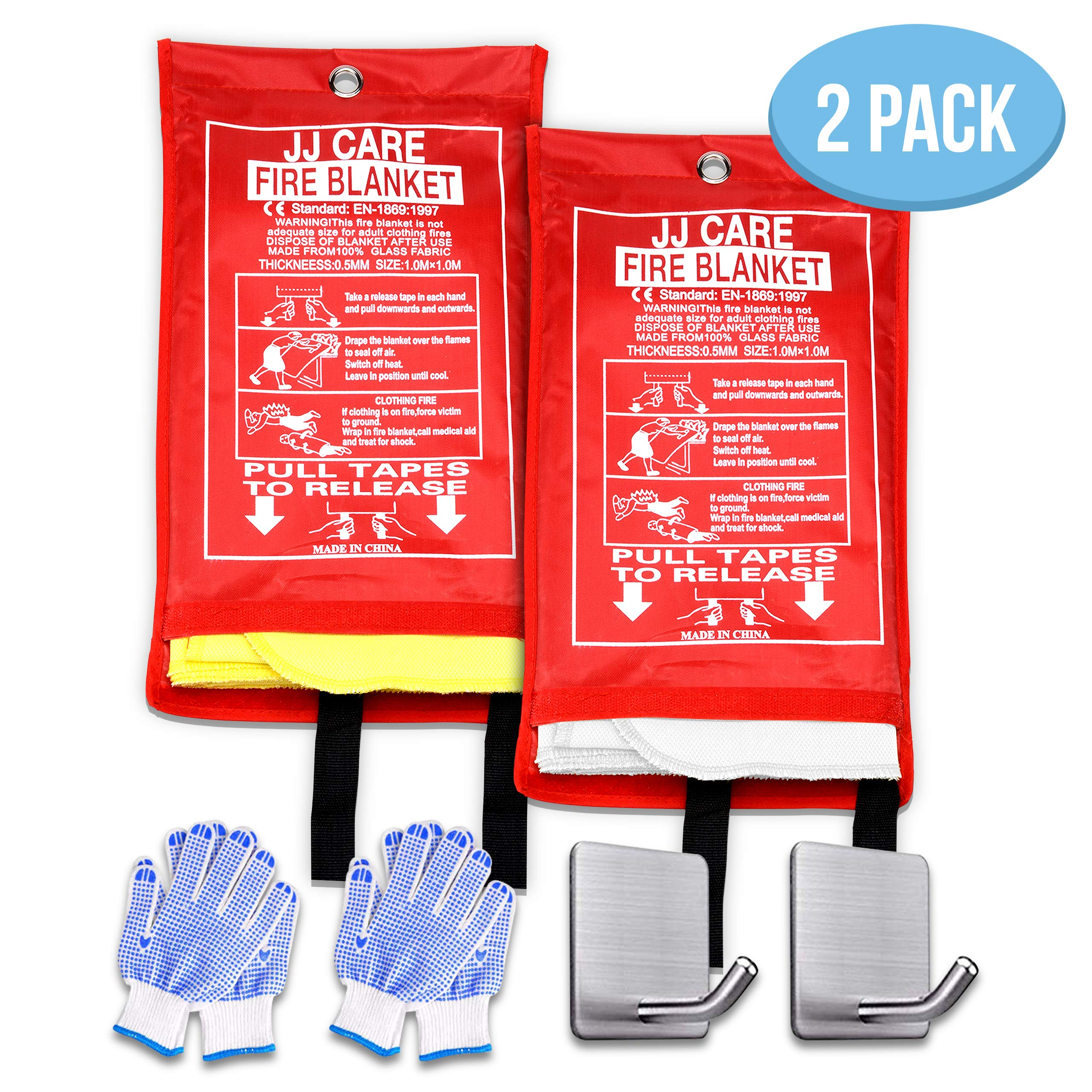 """JJ CARE Fire Blanket (Upgraded) Fire Suppression Fire Fighting Blanket Silica Cloth(40""""x40"""")Flame Retardant fire safety blanket Emergency Survival kit with hooks & grip for Camping Kitchen & warehouse"""