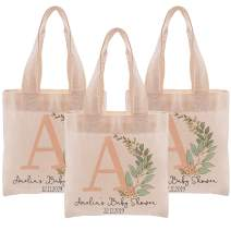 Initial Customized Gift Bag | Personalized Cotton Canvas Gift Tote Bag | Cute Bags for Baby Shower | Pretty Gif Bags | Beautiful Totes | Small | Design 1 | Set of 3