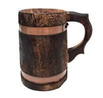 Medieval Handmade Wooden Beer Mug Antique Brown Eco-friendly Beer Tankard Coffee Tea Drinkware Stein
