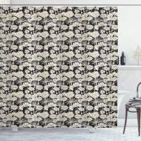 """Ambesonne Flower Shower Curtain, Spring Growth Silhouette Illustration Monochrome Garden Beauty of Nature Theme, Cloth Fabric Bathroom Decor Set with Hooks, 70"""" Long, Black and Beige"""