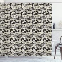 """Ambesonne Flower Shower Curtain, Spring Growth Silhouette Illustration Monochrome Garden Beauty of Nature Theme, Cloth Fabric Bathroom Decor Set with Hooks, 75"""" Long, Black and Beige"""