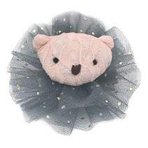 """Premium 3"""" Girls Teddy Bear Hair Clip Accessories Unique Cute and Handmade for Formal or Casual Dresses and Outfits with Shiny Tulle by Ecluv (Charcoal)"""