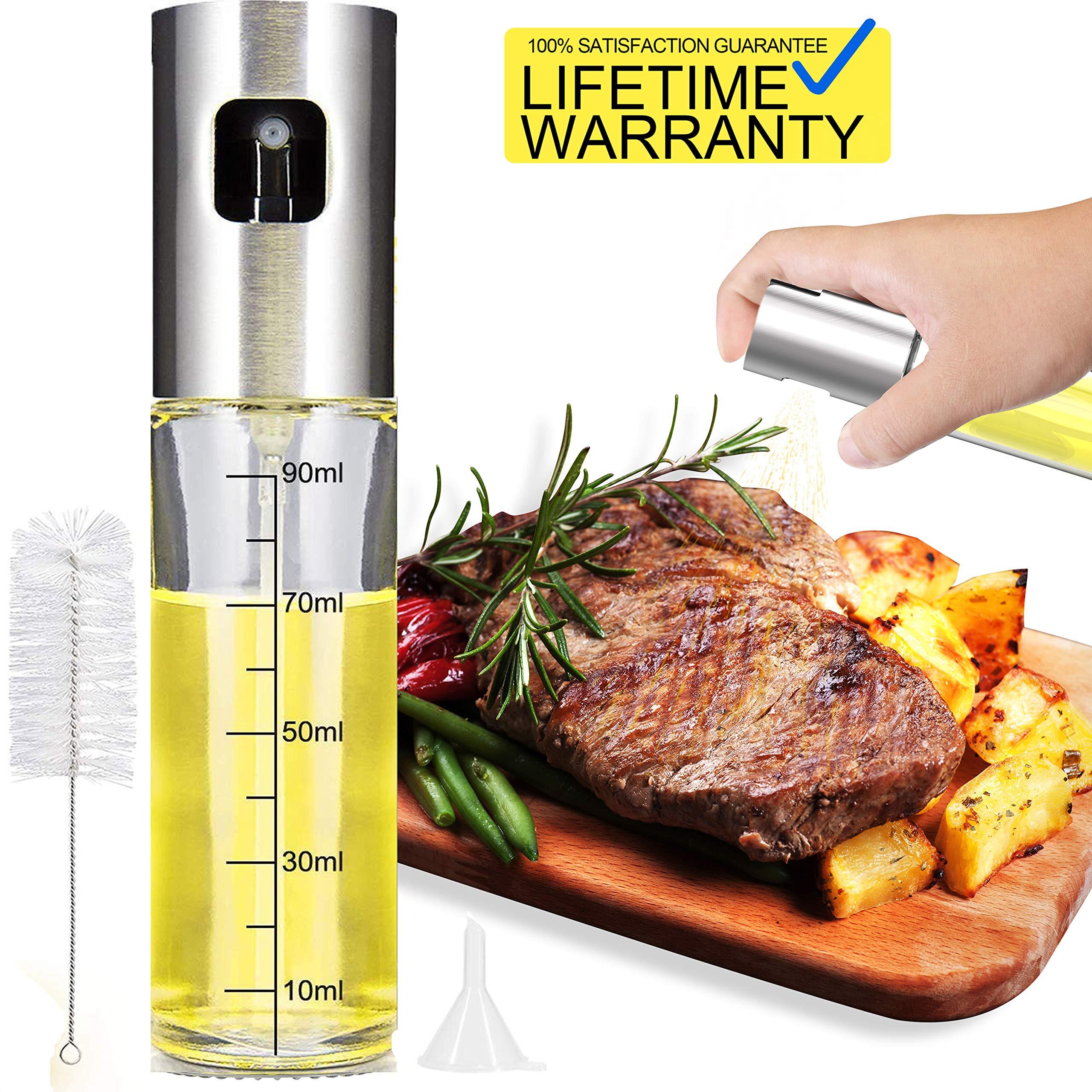 Updated 2020 Version Olive Oil Sprayer Dispenser Mister Bottle For Cooking, BBQ and Air Fryer, Premium Glass Oil Vinegar Soy Sauce Spray for Grilling, Kitchen, Salad, Bread Baking, Frying (2 in 1)