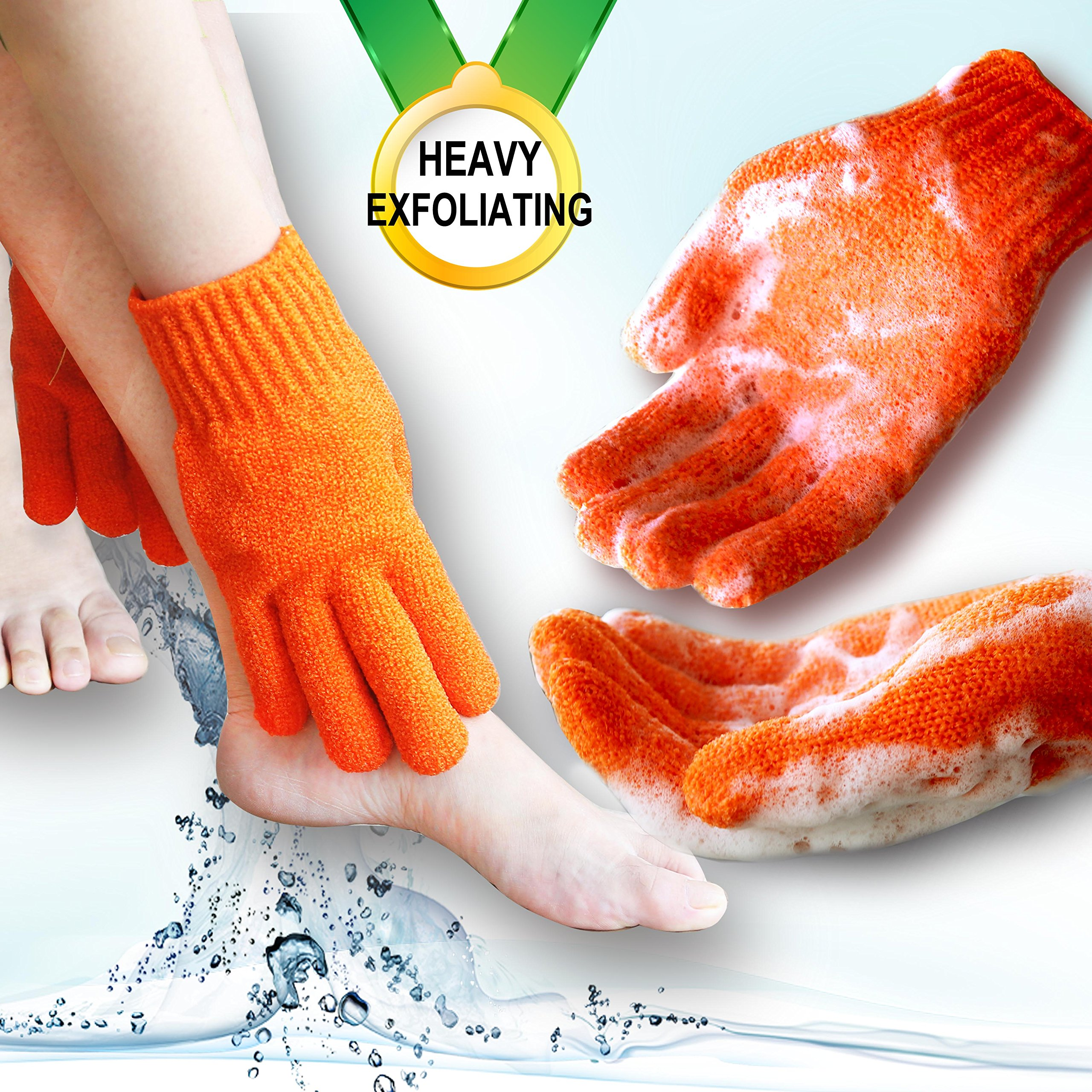 Heavy exfoliating gloves, Hydro full body wash to cleanse, scrub glove for men and women (1 pair Plain, Orange) …