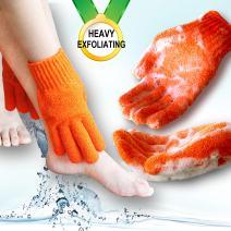 Heavy exfoliating gloves, Hydro full body wash to cleanse, scrub glove for men and women (1 pair Plain, Orange) …