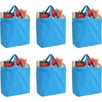 "Reusable Heavy Duty 100% Cotton Canvas Grocery Bags by Threadart | Pack of 6 | With Strong Handles Holds up to 50lbs | Eco Friendly | Large Size 14x14x7.5"" - Turquoise"