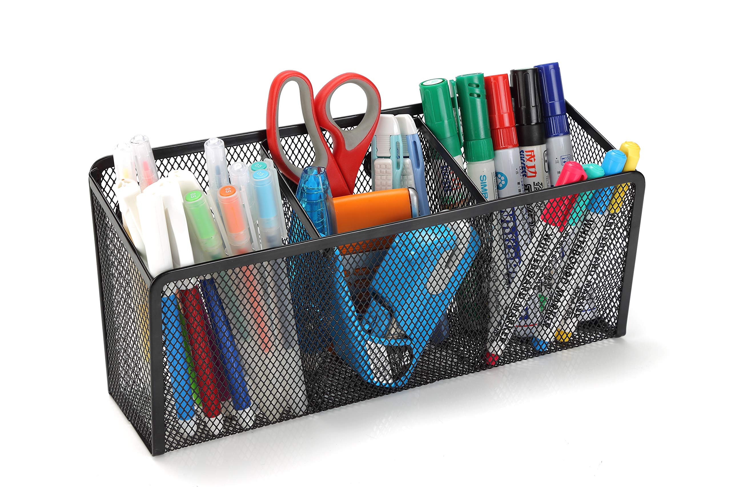 StorageMax Magnetic Pencil Holder and Locker Organizer, Wire Mesh Storage Basket for Refrigerator, Whiteboard or Office Cabinet. Extra Strong Magnets. Office Accessories (Black, 3 Compartment)