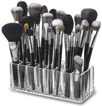 byAlegory Acrylic Makeup Brush Organizer   24 Space Storage w/Deep Slots for Cosmetic Beauty Brushes Refillable Container - Clear