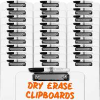 Dry Erase Clipboard + Pen Holder + Markers (30pc) Set of 30 Clip Boards Multi Pack with Whiteboard Pens! 12.5 x 9 Inch, Holds 100 Sheets! Clipboards with Low Profile Clip Board Clips