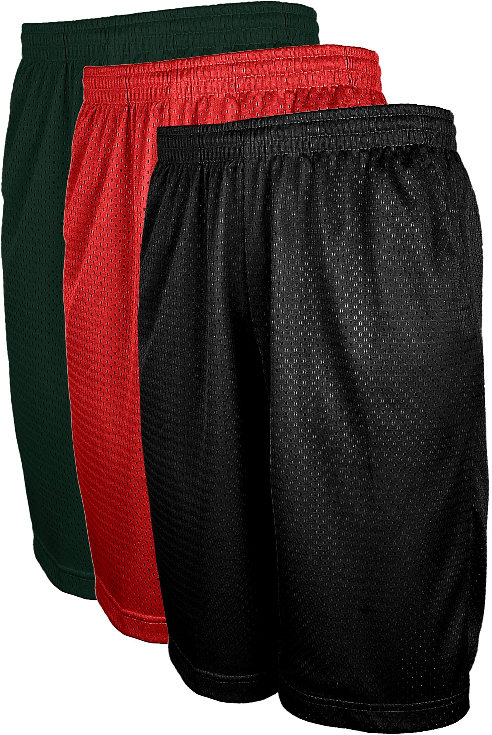 ViiViiKay Men's Athletic Basketball Shorts - Mesh Workout Gym Shorts with Pocket SET3_GRN_RED_BLK 2XL