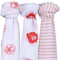 "Ely's & Co. Muslin Swaddle Blanket 100% Soft Muslin Cotton 3 Pack 47""x 47"" (Poppy Flower)"