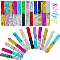 HEHALI 24 Pack Mermaid Slap Bracelet, 2 Colors Reversible Charm Bracelets, Magic Sequins Flip Wristband Bracelets for Birthday Party Favors