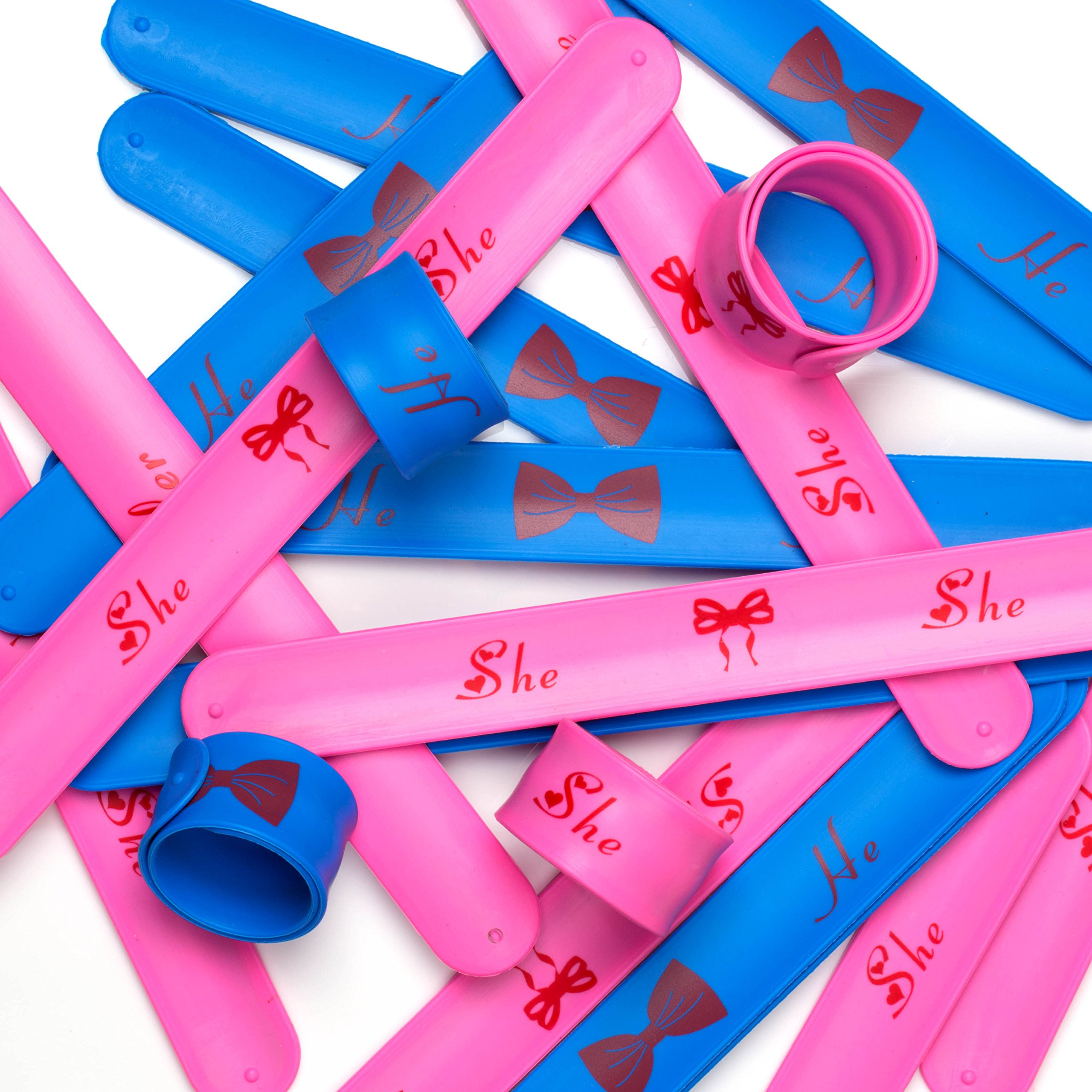 PROLOSO Gender Reveal Party Set - Slap Bracelet Wristbands (Pink & Blue) for Baby Shower Supply Props - 20PCS