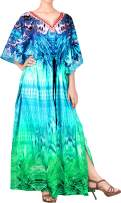 LA LEELA Women's One Size Kaftan Wedding Dresses Sleepwear Cover Ups Drawstring