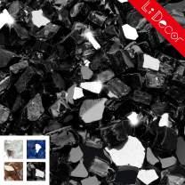 Li Decor 10 Pounds 1/2 Inch Fire Glass High Luster Tempered Fireglass Onyx Black Reflective