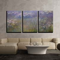 """wall26 3 Piece Canvas Wall Art - Water Color Pond - Modern Home Decor Stretched and Framed Ready to Hang - 24"""" x 36"""" x3"""