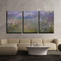 "wall26 3 Piece Canvas Wall Art - Water Color Pond - Modern Home Decor Stretched and Framed Ready to Hang - 24"" x 36"" x3"