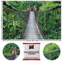 Great Art Photo Wallpaper Suspension Bridge Decoration 210x140 cm / 82.7x55in – Tropical Rainforest Inka Rope-Bridge Peru South America Nature Mural – 5 Pieces Includes Paste