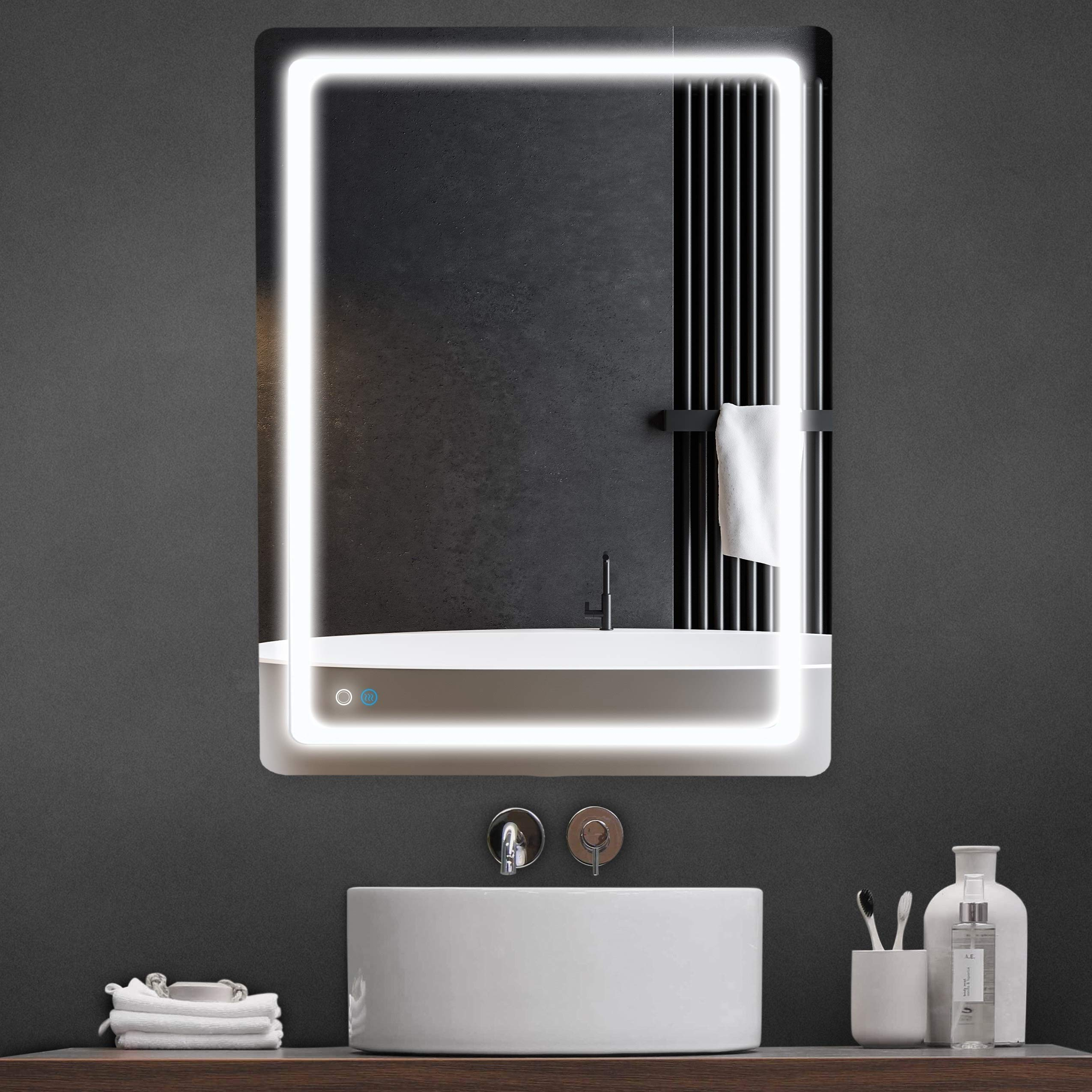 LyteSho LED Bathroom Mirror for Wall - 36x28 inch Anti Fog Bathroom Mirror for Vanity - Lighted Bathroom Vanity Mirror with 3 Light Settings - Makeup Mirror with Lights Fog Free Frameless Smart Mirror