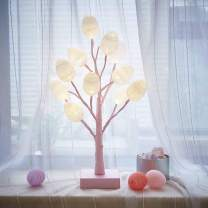 Hairui Lighted Pastel Pink Tree with White Eggs 12LED 18IN Battery Operated with Timer for Christmas Easter Home Decoration Indoor
